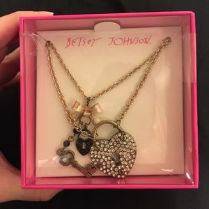 Betsey Johnson lock and key necklace with bow
